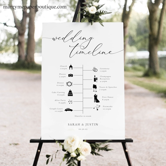 Wedding Timeline Sign Template, Classic & Elegant, Wedding Itinerary Sign, Poster Printable, Order of Events Sign, Templett INSTANT Download