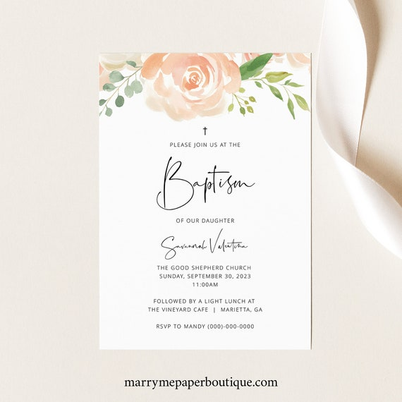 Baptism Invitation Template, Peach Floral, Fully Editable Instant Download, TRY BEFORE You BUY