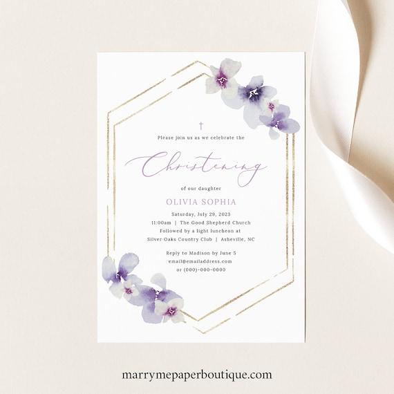 Christening Invitation Template, Delicate Lilac Flowers, Christening Invite Printable, Editable, Purple Hydrangea, Templett INSTANT Download