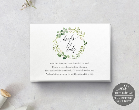 Books for Baby Card Template, TRY BEFORE You BUY, Editable Instant Download, Greenery