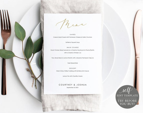 Menu Template, Printable Editable Instant Download, Demo Available, Elegant Gold Script 5x7