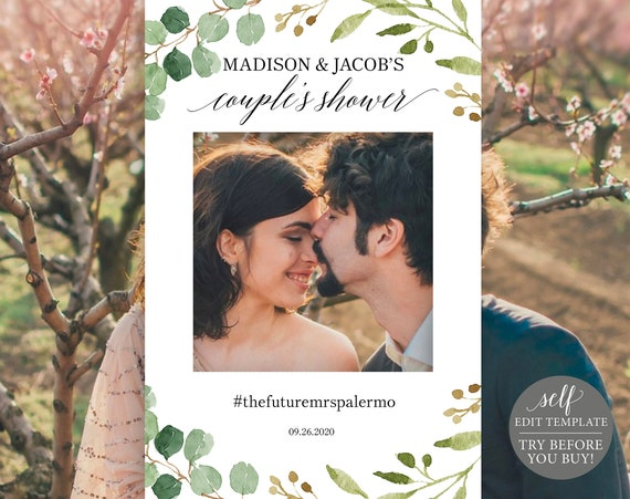 Greenery Couples Shower Photo Booth Frame Template, Printable Wedding Selfie Frame, Instant Download, 100% editable, TRY BEFORE You BUY