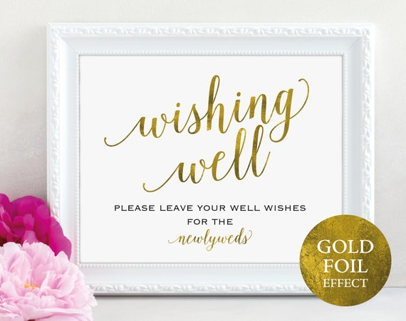 Gold Wishing Well Sign, Wedding Sign, Wedding Printable Sign, Wishing Well, Wedding Template, Newlyweds, PDF Instant Download, MM01-3