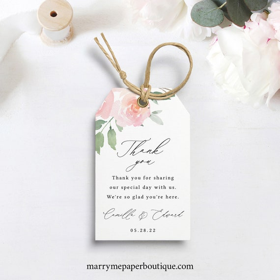 Favor Tag Template, Elegant Blush Floral, Editable & Printable, Instant Download, Templett, Try Before Purchase