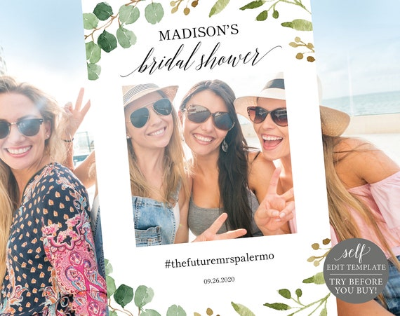 Greenery Wedding Bridal Shower Photo Booth Frame Template, Printable Photo Booth Prop Template, Wedding Selfie Frame, Instant Download