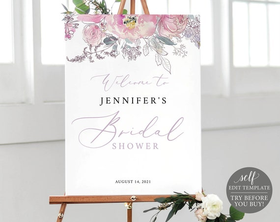 Bridal Shower Welcome Sign Template, Pink Lilac Floral, 100% Editable Instant Download, TRY BEFORE You BUY