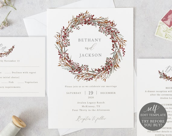 Winter Wedding Invitation Template Set, TRY BEFORE You BUY, 100% Editable Invitation Printable, Instant Download