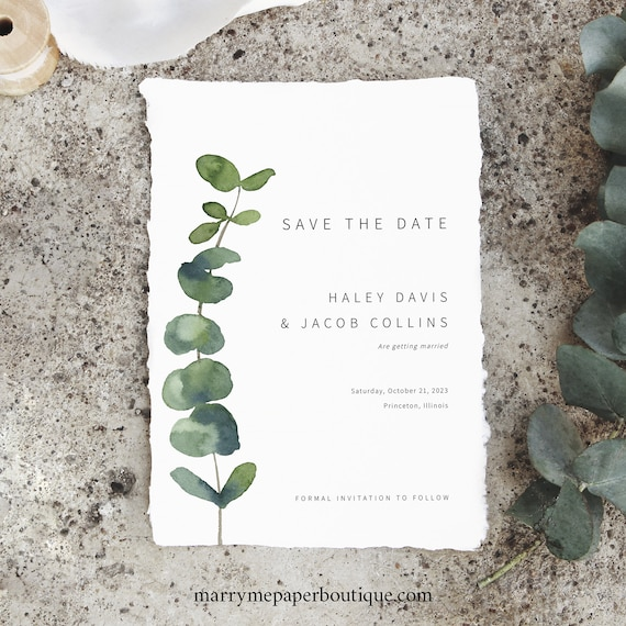 Save the Date Card Template, Elegant Eucalyptus, Printable Save Our Date, Templett INSTANT Download, Greenery, Editable