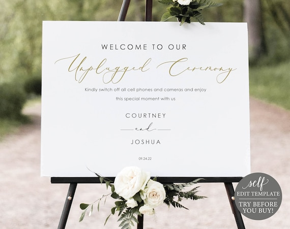Unplugged Ceremony Sign Template, Elegant Gold Script, Templett, Editable & Printable Instant Download, TRY BEFORE You Buy