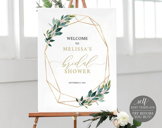 Bridal Shower Welcome Sign Template, 100% Editable, Printable Bridal Shower Sign, Instant Download, Geometric Greenery, TRY BEFORE You BUY