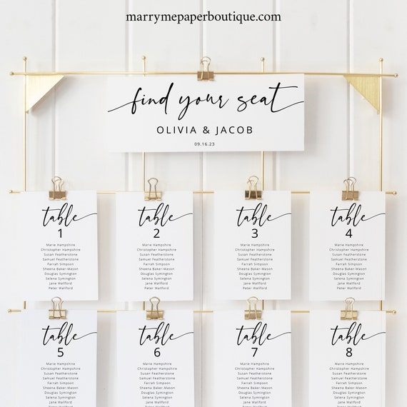 Seating Chart Cards Template, Modern Calligraphy, Wedding Seating Cards Printable, Editable, Templett INSTANT Download