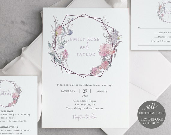 Wedding Invitation Template Suite, Pink & Lilac Floral, TRY BEFORE You Buy, Templett, Editable Printable, Instant Download