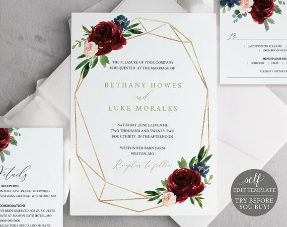 Wedding Invitation Templates, Printable Editable Instant Download, Burgundy Geometric, Demo Available