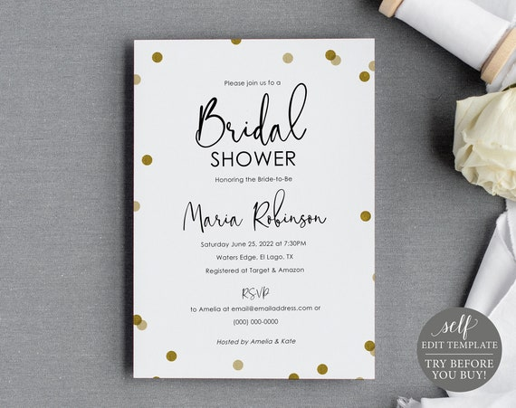 Bridal Shower Invitation Template, Demo Available, Editable & Printable Instant Download, Gold Confetti