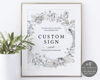 Create Multiple Signs Template, Neutral Floral 8x10, Editable Instant Download, Free Demo Available