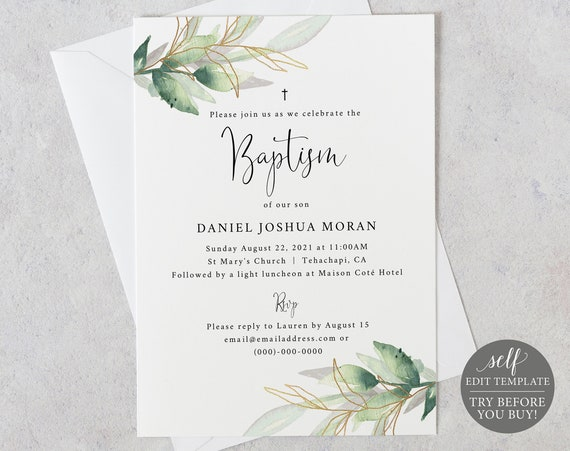 Baptism Invite Template, TRY BEFORE You BUY, Editable Instant Download, Greenery Gold