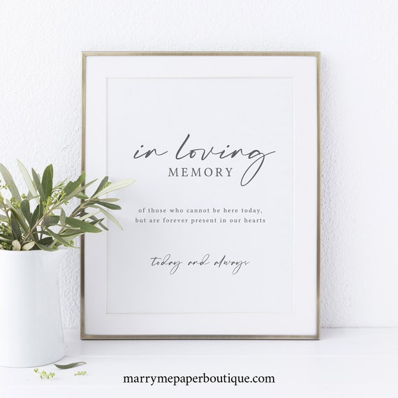 In Loving Memory Sign Template, Handwritten Style Font, Printable, Instant Download, Non-Editable