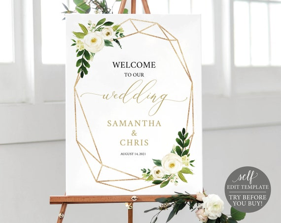 Wedding Welcome Sign Template, Fully Editable Instant Download, TRY BEFORE You BUY, White Floral Geometric