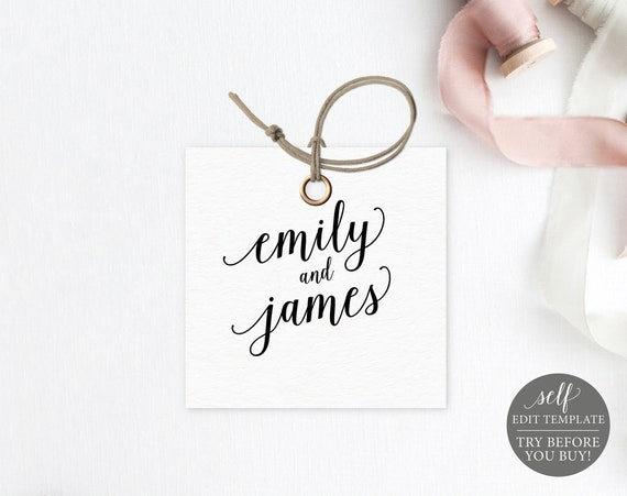 Square Tag / Label Template, Modern Script, 100% Editable Instant Download, TRY BEFORE You BUY