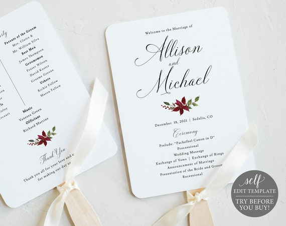 Program Fan Template, TRY BEFORE You BUY, Editable Instant Download, Christmas Wedding
