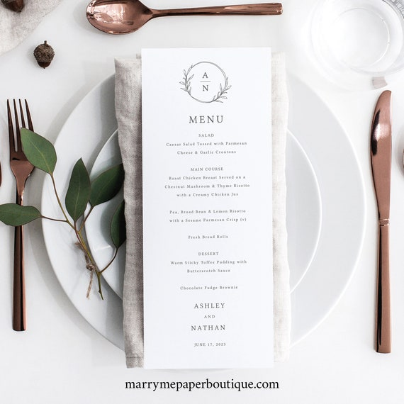 Wedding Menu Template Tall, Editable Menu Printable, Try Before Purchase, Circle Monogram Design, Templett Instant Download