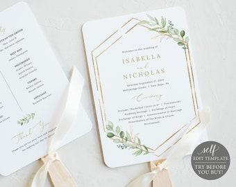 Wedding Program Fan Template, Greenery Hexagonal, TRY BEFORE You Buy, Editable & Printable Instant Download, Templett