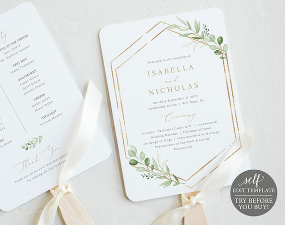 Wedding Program Fan Template, Greenery Hexagonal, TRY BEFORE You Buy, Editable & Printable Instant Download, Templett