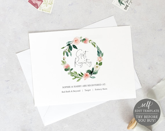 Wedding Registry Card Template, Floral Greenery, Editable Instant Download, TRY BEFORE You BUY