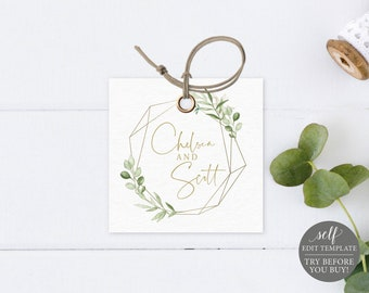 Square Tag Template, Greenery & Gold, Editable Printable Instant Download, Demo Available, Templett