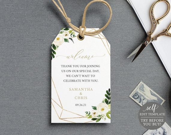 Welcome Tag Template, Self Edit Instant Download, TRY BEFORE You BUY, White Floral Geometric