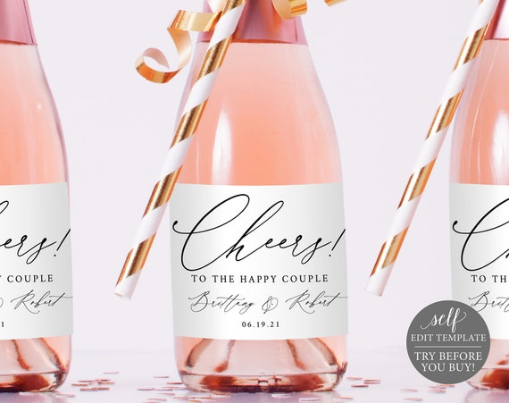 Mini Champagne Label Template, Stylish Script, FREE Demo Available, Editable Instant Download