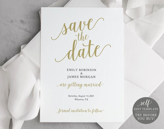 Save the Date Template, Editable & Printable Instant Download, Templett, Modern Script Gold