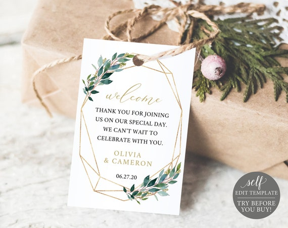 TRY BEFORE You BUY! Welcome Tag Template, Greenery, Editable, Instant Download, Wedding Printable
