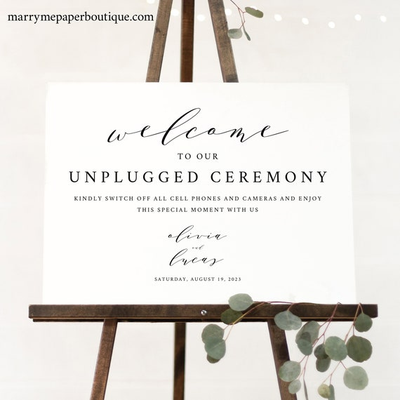 Unplugged Ceremony Sign Template, TRY BEFORE You BUY, Editable Instant Download, Elegant Script