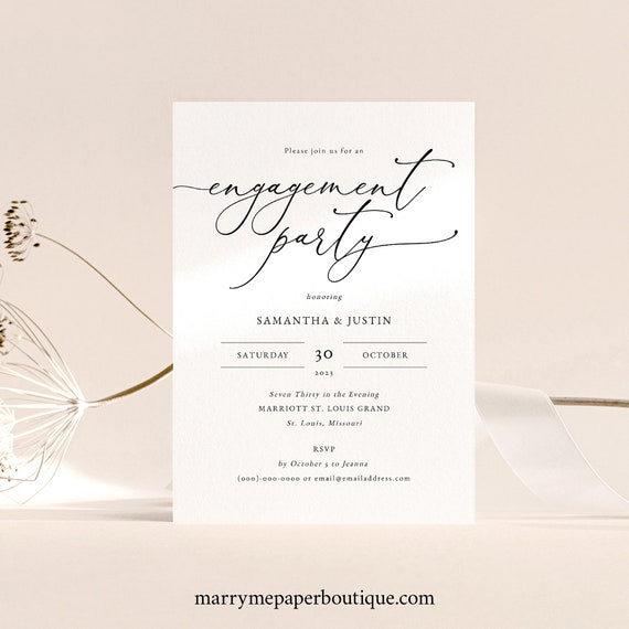 Classic Engagement Party Invitation Template, Elegant Engagement Party Invite, Printable, Fully Editable, Templett INSTANT Download