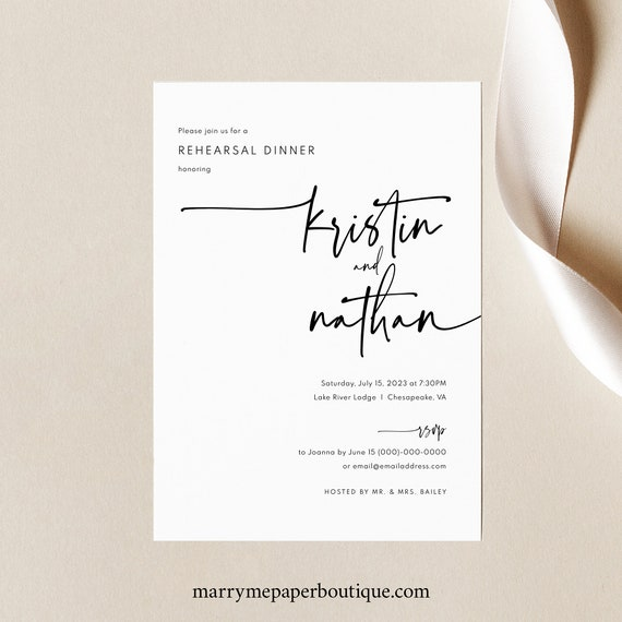 Rehearsal Dinner Invitation Template, Modern Contemporary, Simple Wedding Rehearsal Dinner Invite, Printable, Templett INSTANT Download