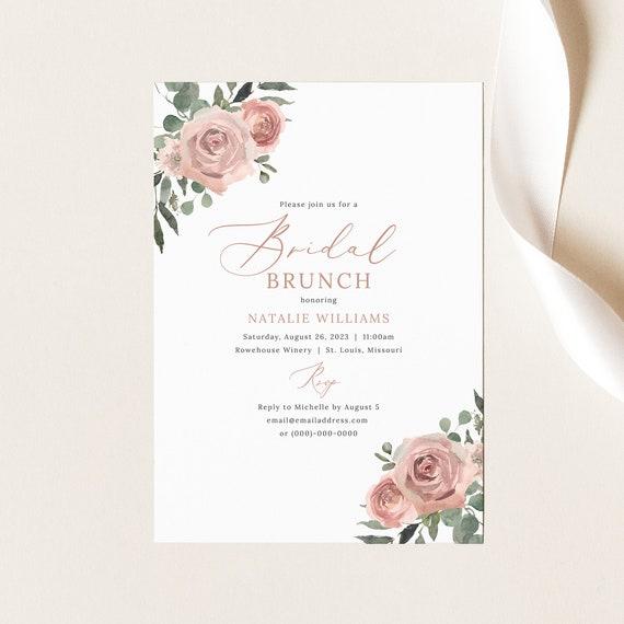 Bridal Brunch Invitation Template, Dusky Pink Floral, Bridal Shower Brunch Invite, Printable, Dusty Pink, Templett INSTANT Download
