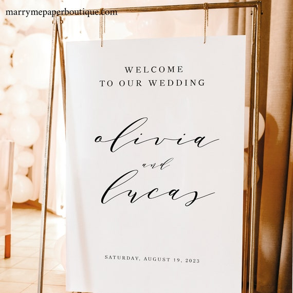Wedding Welcome Sign Template, Elegant Calligraphy, Welcome To Our Wedding Sign Poster, Printable, Templett INSTANT Download, Vertical
