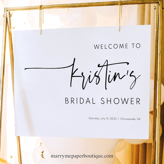 Bridal Shower Welcome Sign Template, Modern Contemporary, Simple Bridal Shower Sign, Printable, Editable, Clean, Templett INSTANT Download