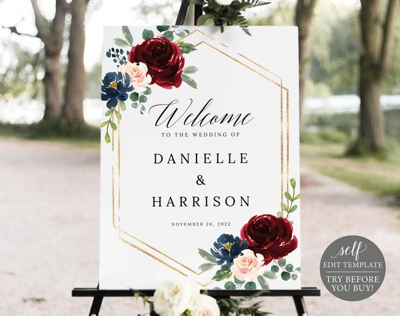 Wedding Welcome Sign Template, Burgundy Navy, Demo Available, Printable Editable Instant Download