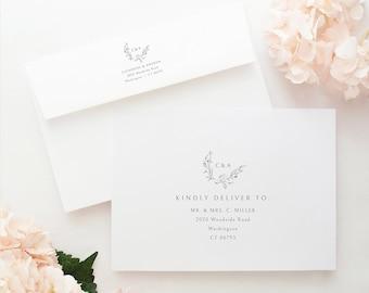 Envelope Address Template, Elegant Monogram, Templett Instant Download, Editable & Printable, Demo Available