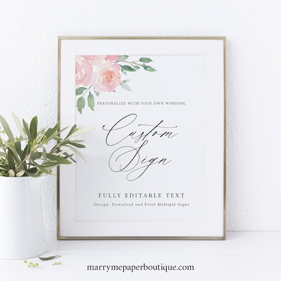 Create MULTIPLE Signs Template, Elegant Blush Floral, Editable & Printable, Instant Download, Try Before Purchase