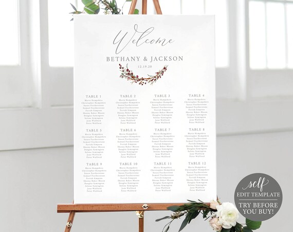 Seating Plan Template, TRY BEFORE You BUY, 100% Editable  Instant Download, Wedding Sign Printable