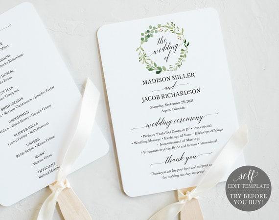Greenery Wedding Program Fan Template, Printable Program Fan, Printable Wedding Fan, Editable Ceremony Fan, Instant Download