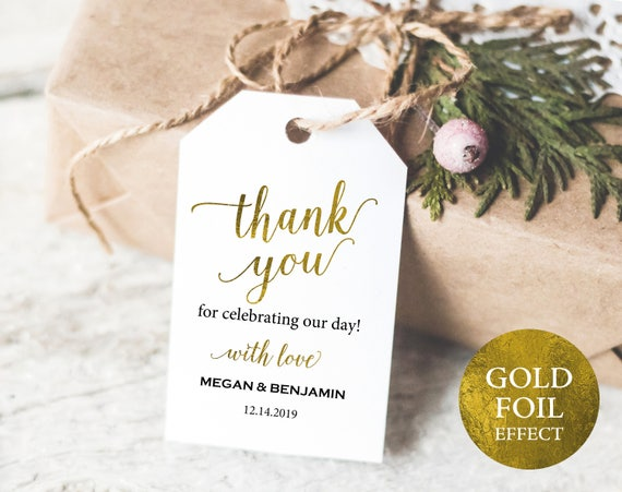 Faux Gold Wedding Thank You Tag Template, Editable Thank You Tag, Wedding Favor Tag, Printable Thank You Tags, PDF Instant Download, MM01-3