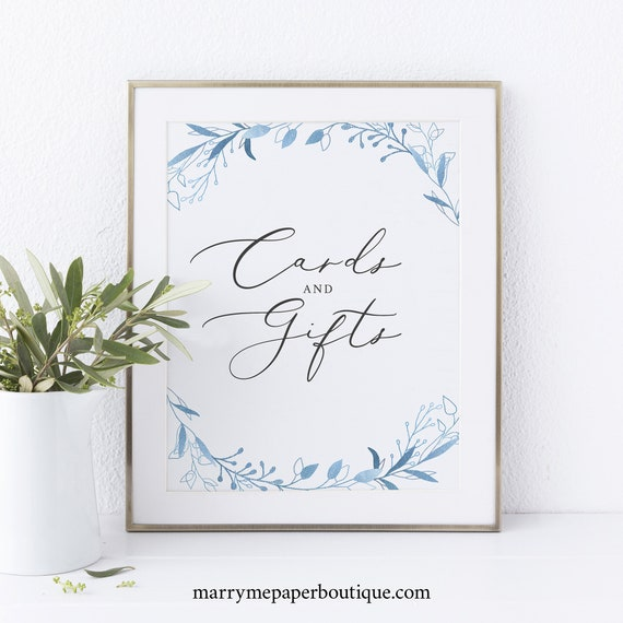 Cards & Gifts Sign Template, Blue Foliage, Instant Download, Printable, Non-Editable