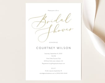 Bridal Shower Invitation Template, Elegant Gold,  Editable Instant Download, TRY BEFORE You BUY
