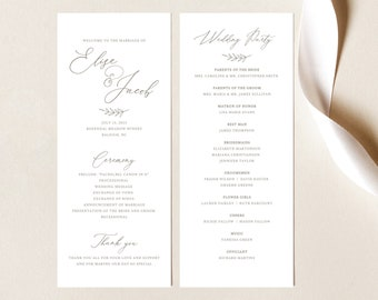Wedding Program Template,  Editable, Instant Download, Ceremony Program Printable, Order of Service, Calligraphy, TRY BEFORE You BUY