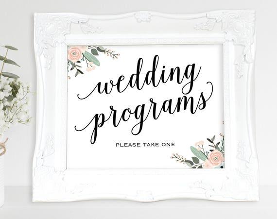 Floral Wedding Program Sign, Please Take a Program, Wedding Program, Wedding Printable, Wedding Sign, PDF Instant Download, MM01-6