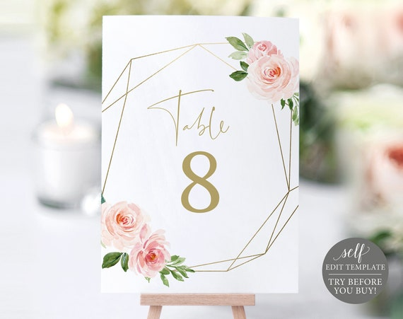 Table Number Template, Blush Pink Geometric, Demo Available, Order Edit & Download In Minutes